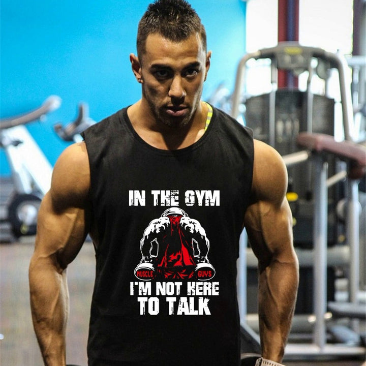 "Men's Cotton Tank Top ""In The Gym I'm Not Here To Talk"""