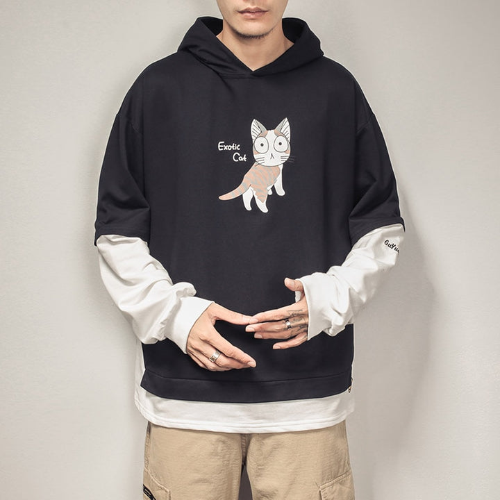 "Men's Hooded Sweatshirt ""Exotic Cat"""