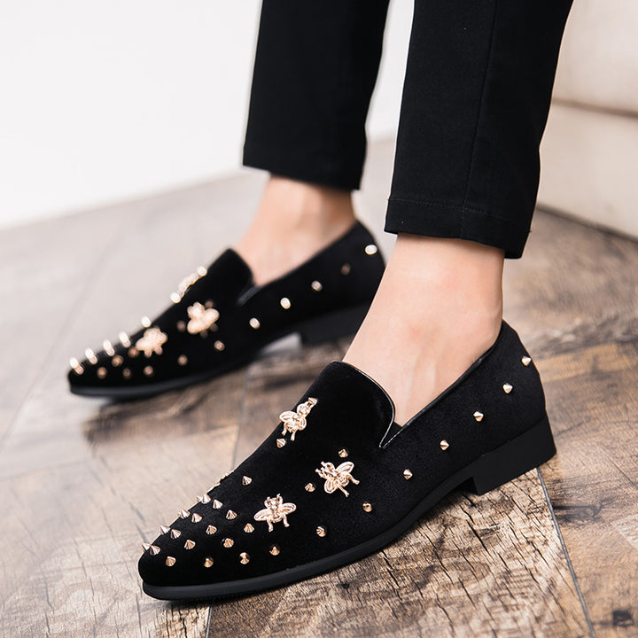 Men's Velvet Loafers With Rivets