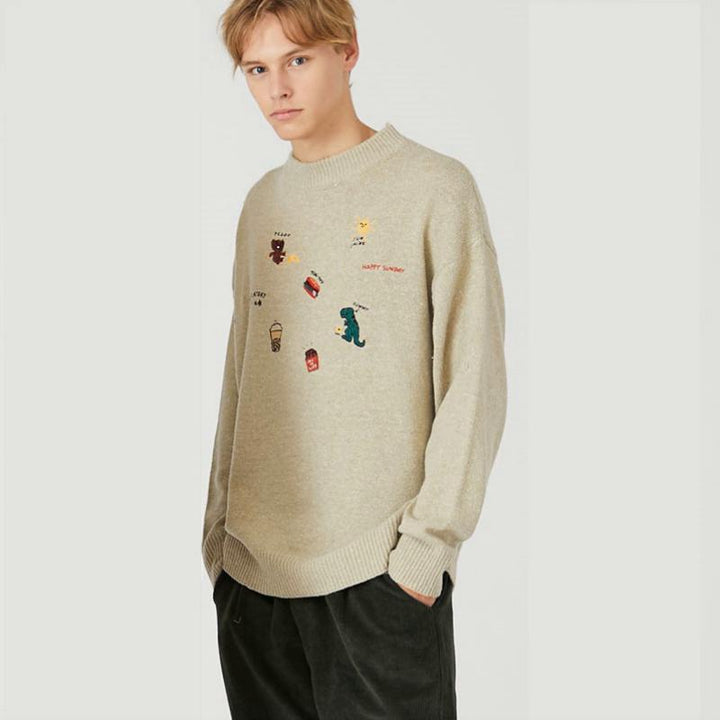 Men's Casual Knitted Pullover With Embroidery
