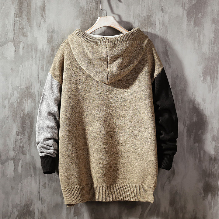 Men's Autumn/Winter Casual Polyester Patchwork O-Neck Sweater