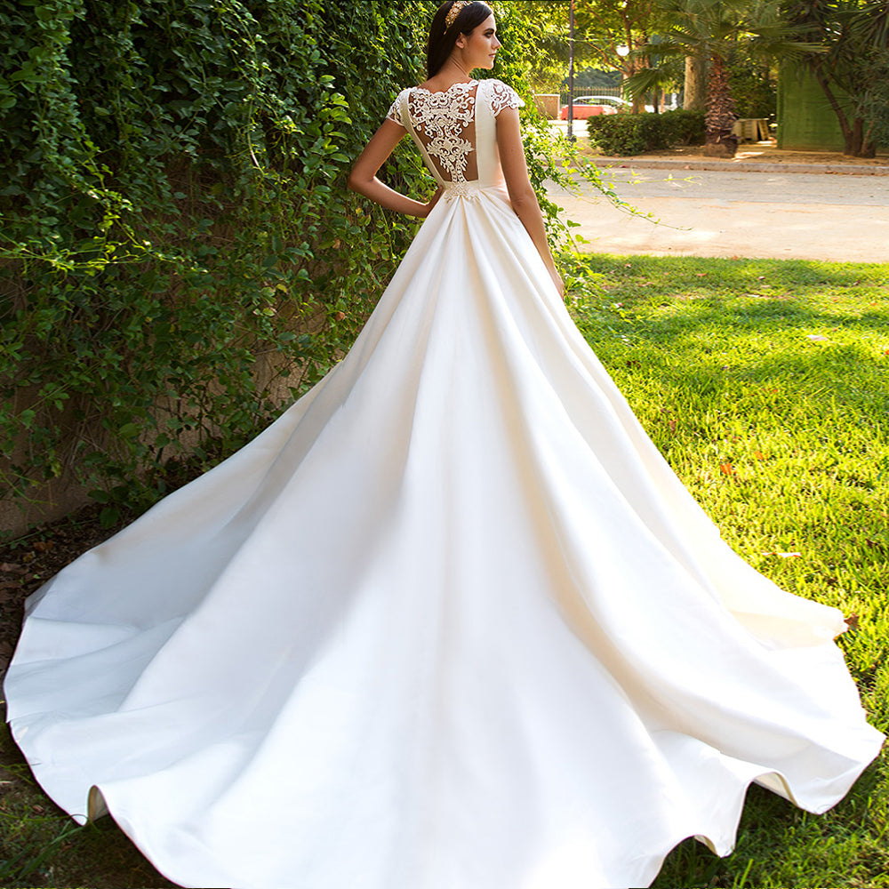 Women's Satin Long Wedding Dress With Court Train