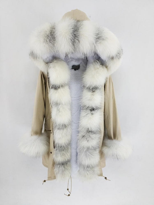 Women's Winter Casual Long Hooded Warm Parka With Fox Fur