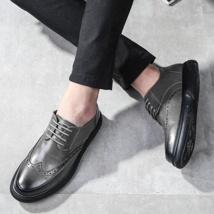 Men's Casual Leather Dress Shoes With Round Toe