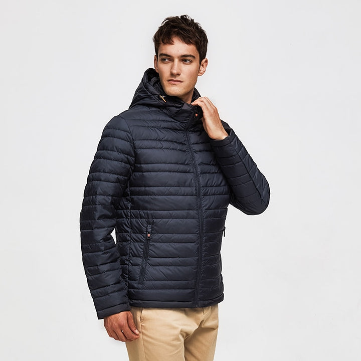 Men's Spring Casual Polyester Padded Hooded Coat