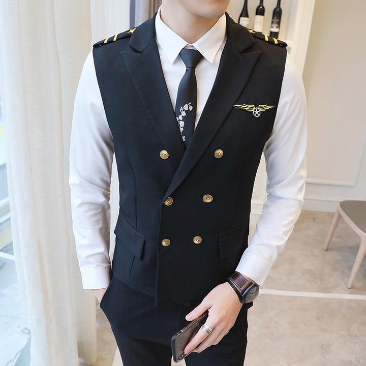 Men's Casual Double Breasted Vest With Epaulets
