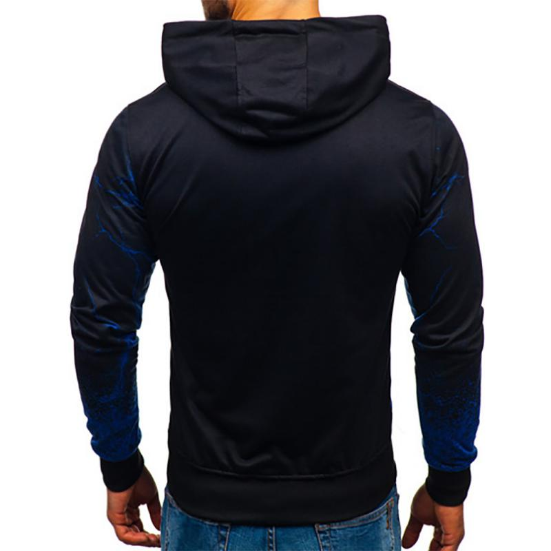 Men's Long Sleeved Hooded Sweatshirt With Print