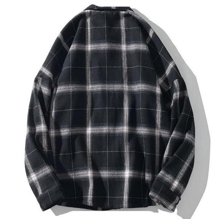 Men's Autumn Casual Plaid Long Sleeved Shirt With Velvet