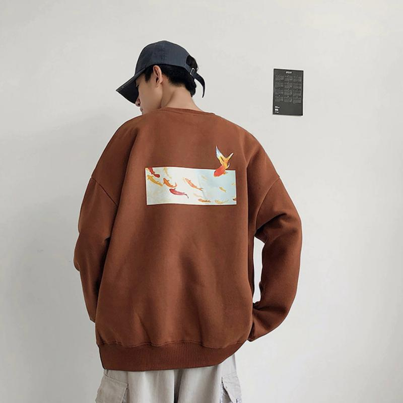 Men's Autumn Fleece Sweatshirt With Fish Print