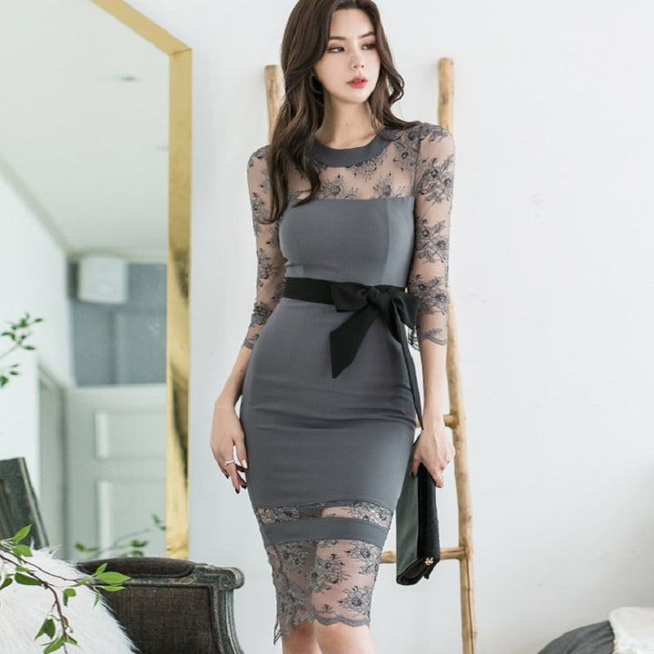 Women's Summer O-Neck Patchwork Sheath Dress