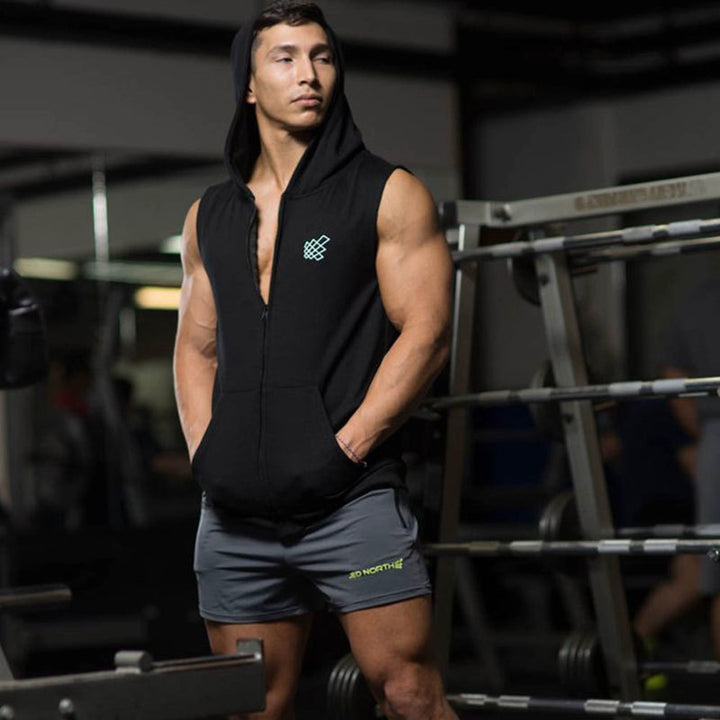 Men's Casual Cotton Hooded Tank Top
