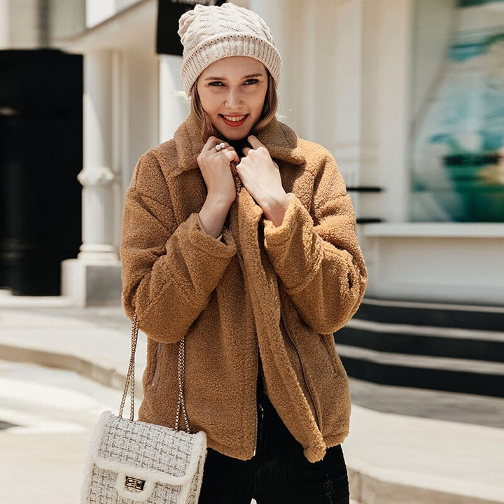 Women's Autumn/Winter Casual Fluffy Coat With Zippers