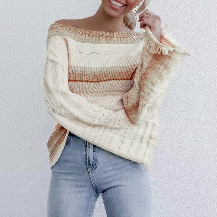 Women's Autumn/Winter Off-Shoulder Striped Pullover With Tassels