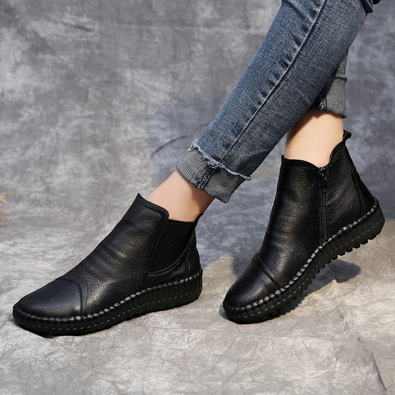 Women's Spring/Autumn Leather Flat Boots