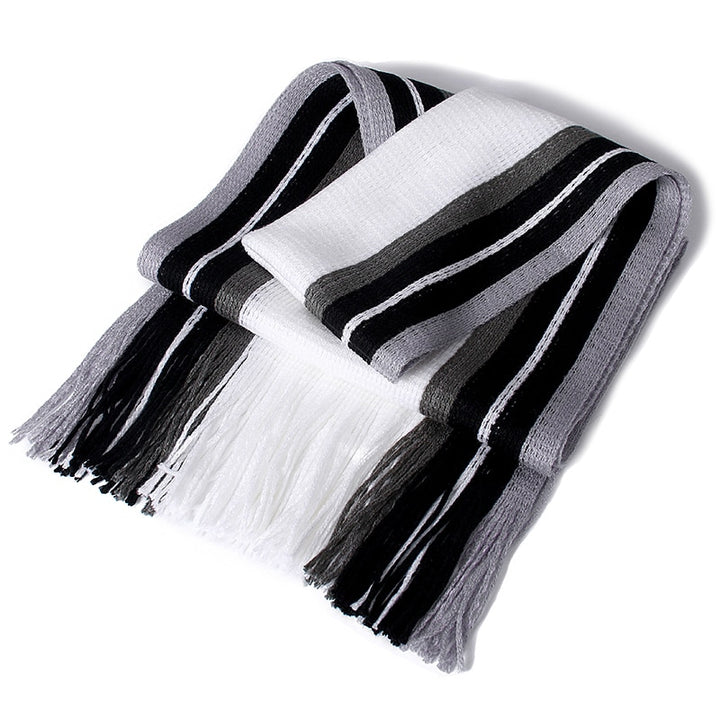 Men's Winter Casual Cotton Scarf With Tassels