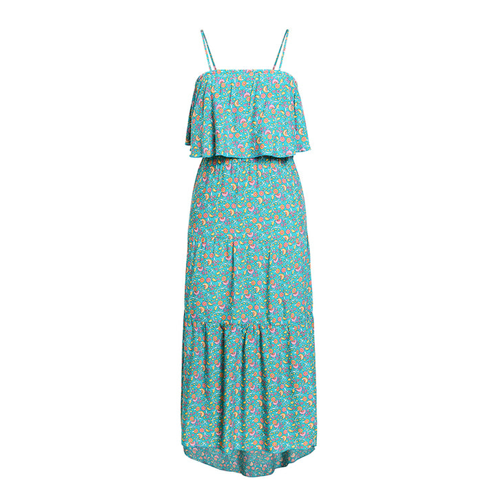 Women's Summer Casual Ruffled High-Waist Dress With Print