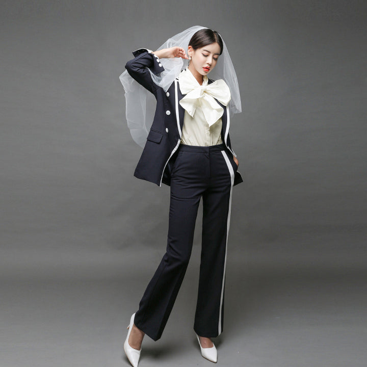 Women's Spring/Autumn Slim V-Neck Long-Sleeved Two-Piece Suit