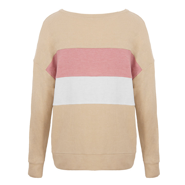 Women's Spring/Autumn Loose Patchwork Long-Sleeved Pullover