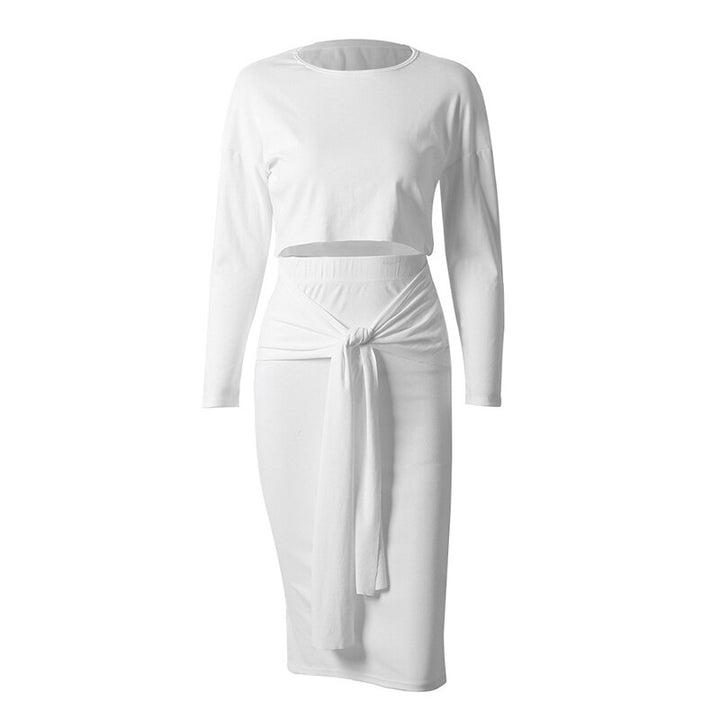 Women's Spring/Autumn Casual O-Neck Polyester Two-Piece Dress