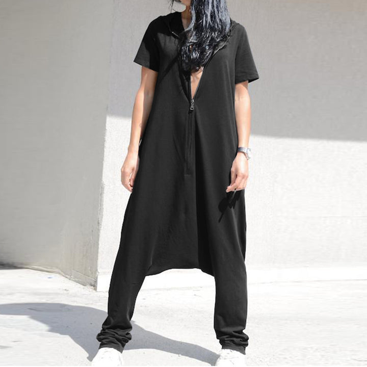 Women's Summer Casual Polyester Loose Jumpsuit With Zipper