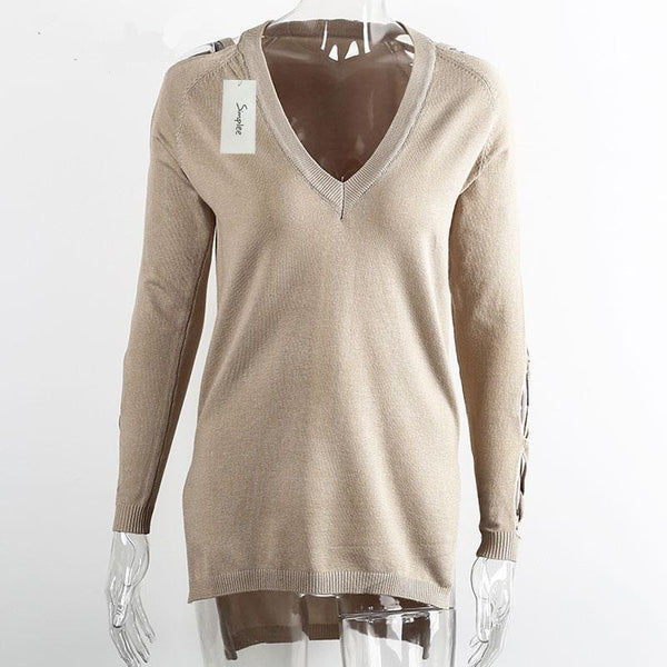 Cross Sleeve V-Neck Sweater Of Cotton - Zorket