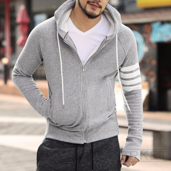Men's Hoodie With Zipper And Fleece - Zorket