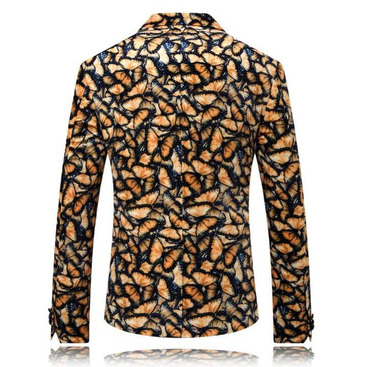 Men's Single Breasted Blazer With Butterflies Print | Plus Size