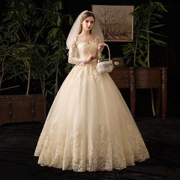 Women's Lace Long O-Neck Wedding Dress With Appliques