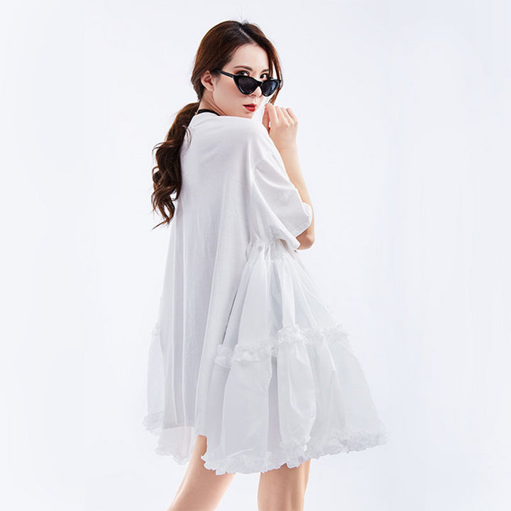 Women's Spring/Summer O-Neck Loose Dress With Ruffles
