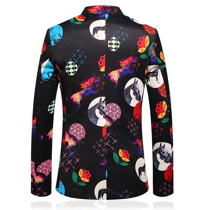 Men's Single Breasted Blazer With Print