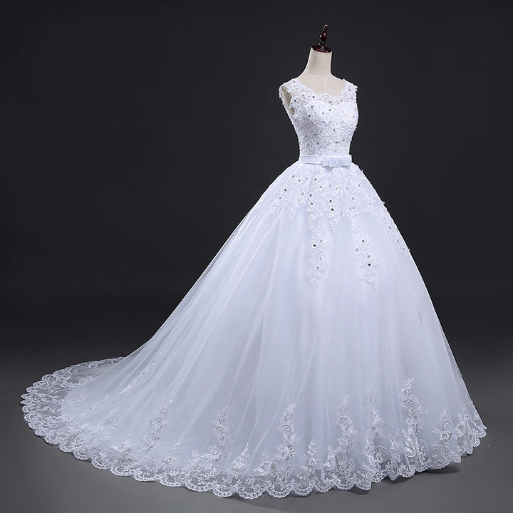 Women's Backless Lace Wedding Dress With Court Train