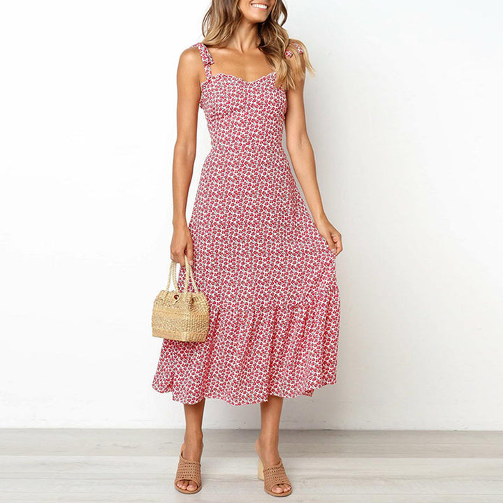 Women's Summer Casual Midi Lace-Up Dress With Print