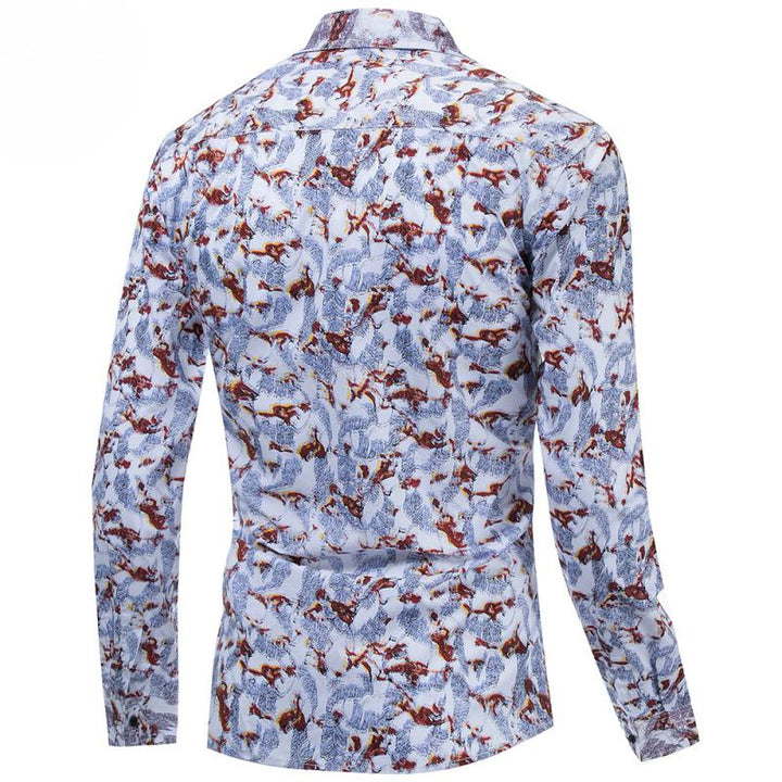 Men's Summer Casual Cotton Long Sleeved Shirt With Print