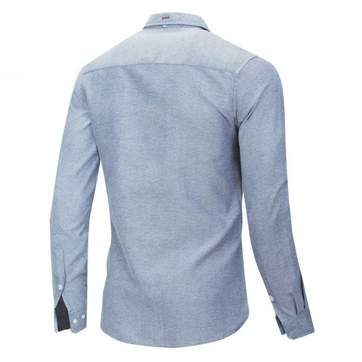 Men's Casual Long Sleeved Denim Shirt With Embroidery
