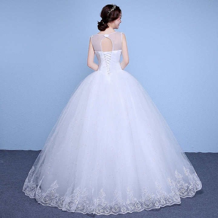 Women's Lace-Up V-Neck Wedding Dress With Sequin