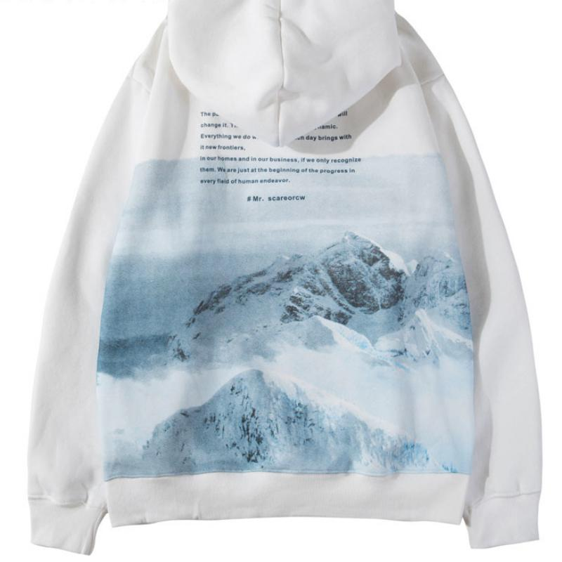 Men's Casual Hooded Sweatshirt With Mountains Print