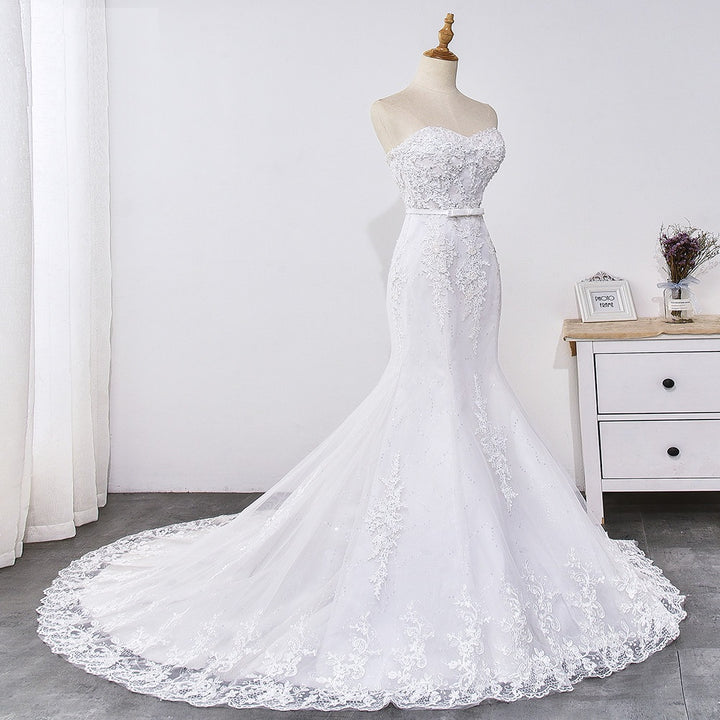 Women's Long Sequined Lace-Up Wedding Dress With Appliques
