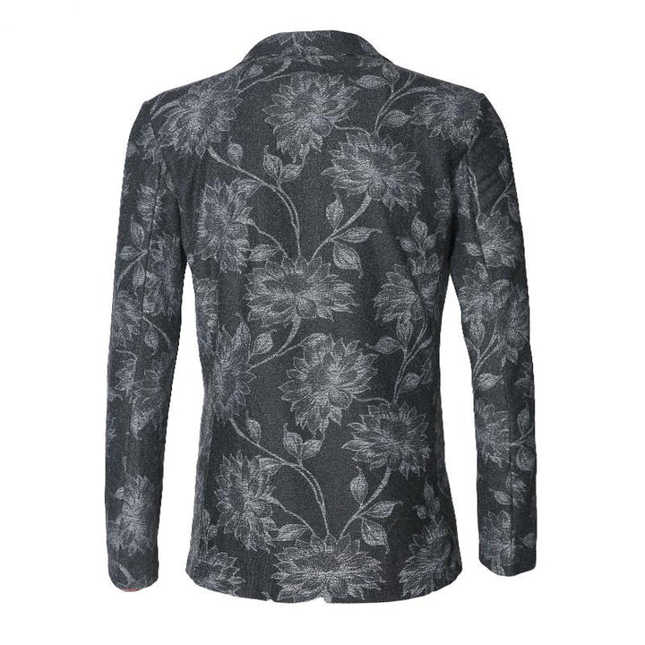 Men's Autumn/Winter Casual Woolen Blazer With Print