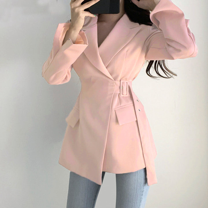 Women's Cotton Belted Long-Sleeved Blazer With Pockets