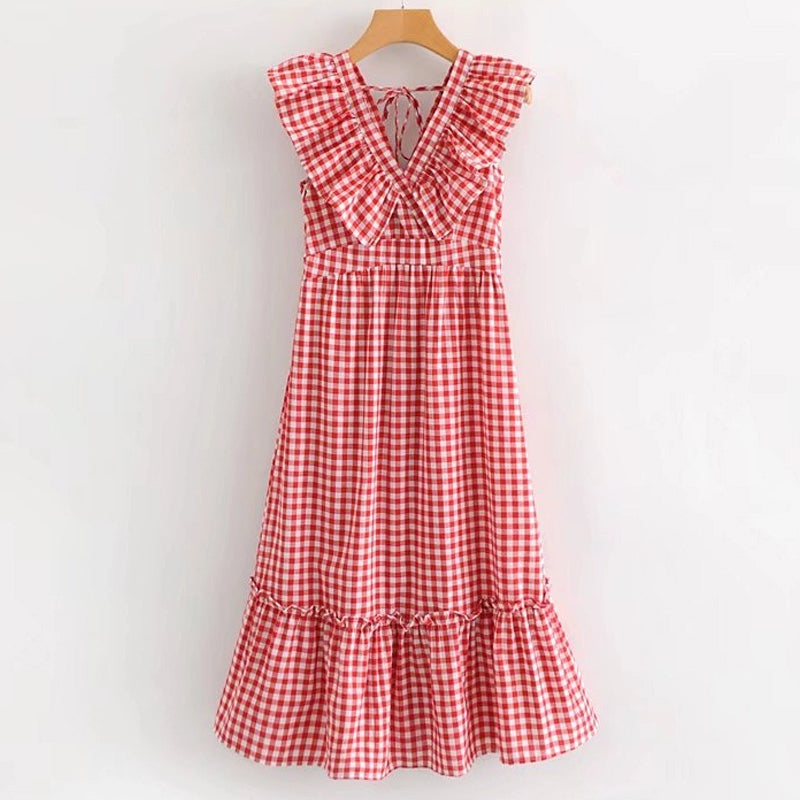 Women's Summer V-Neck Dress With Ruffles