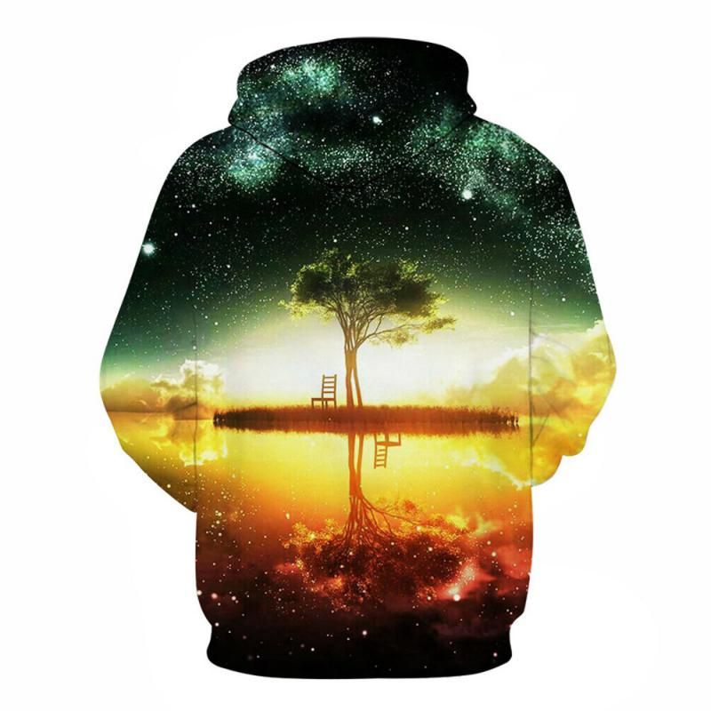 Men's Autumn/Winter Hooded Sweatshirt With Tree Print