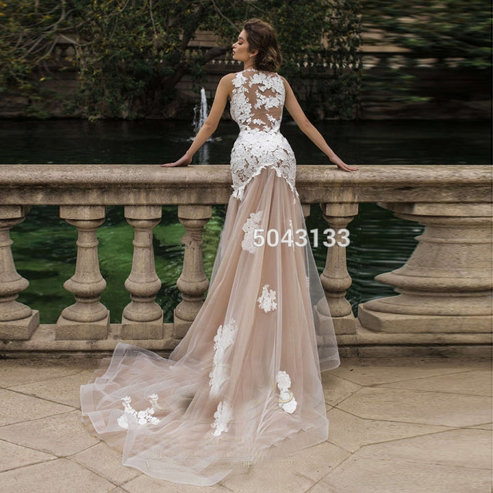 Women's O-Neck Lace Long Wedding Dress With Appliques