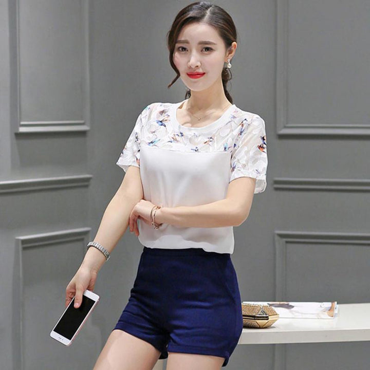 Women's Summer Casual Short-Sleeved O-Neck Blouse With Lace
