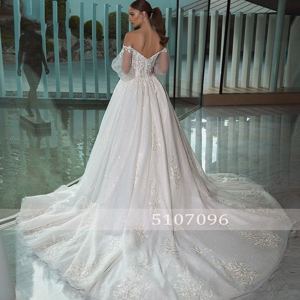 Women's Long Lace Puff-Sleeved Wedding Dress With Sweep Train