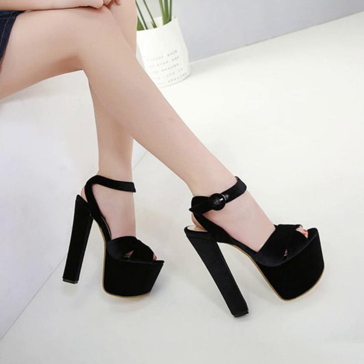 Women's Summer Sandals With High Heels And Buckles