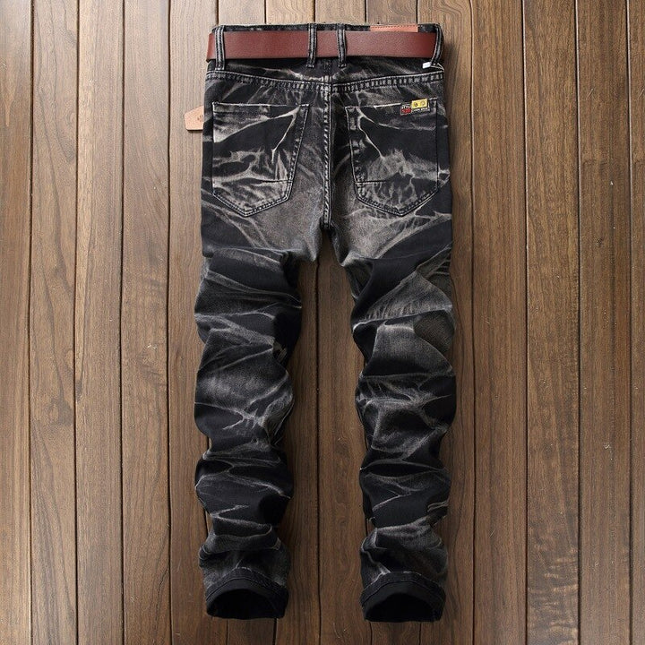 Men's Straight Ripped Mid-Waist Slim Jeans