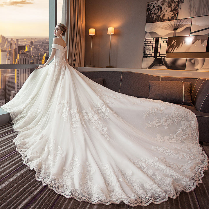 Women's Lace Off-Shoulder Long Wedding Dress With Court Train