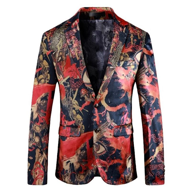 Men's Casual Slim Fit Blazer With Print
