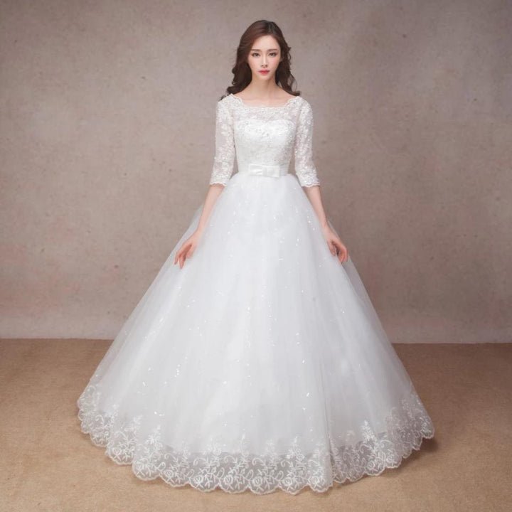 Women's O-Neck Lace Long Wedding Dress With Sashes