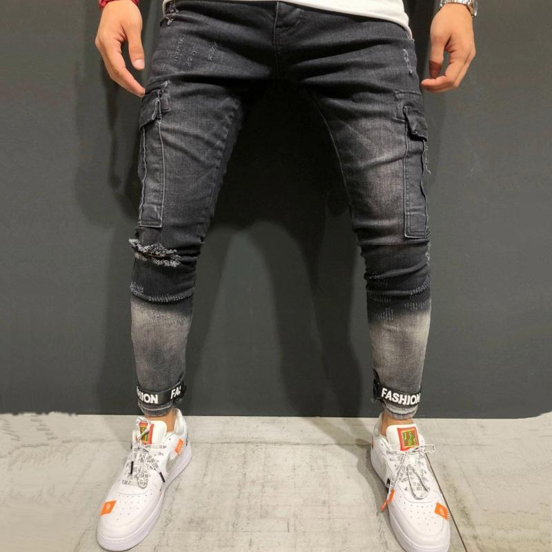 Men's Ripped Jeans With Big Pockets